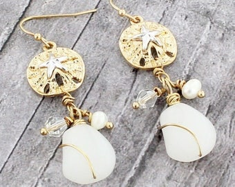 Two-tone sand dollar and starfish earrings
