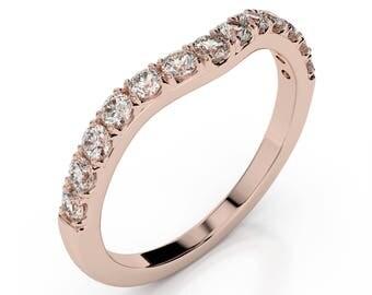 0.26 ct. Diamond Wedding Band 14k Rose Gold