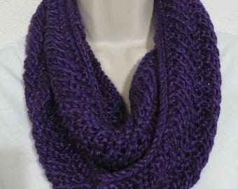 Handknit infinityscarf purple cowlscarf readytoship easycare accessories