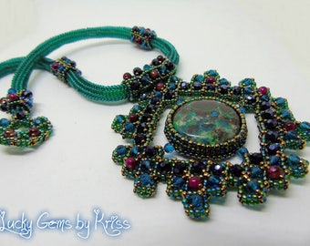 "Chrysocolla necklace ""Gaya"", framed necklace, natural stones necklace, green chrysocolla, beadwork, bead embroidery, handmade jewelry"