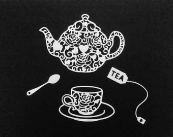 5x sets of teapot and teacup lace die cuts