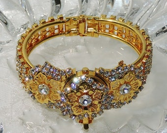 18K Gold Plated Brilliant Rhinestone Clamper Bracelet AND Watch  New Battery