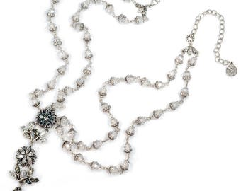 Flower Necklace, Silver Necklace, Silver Jewelry, Wedding Jewelry, Crystal Necklace, Bridal Jewelry, Double Strand Necklace N1278