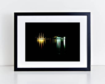 Noctural Visual Poetry, Serifos - Physical fine art photography print, color print, colour, Aegean, long exposure, reflections, poster