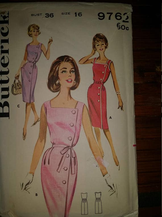 Butterick 9762 -1960 Side-Buttoned Dress. size 16 bust 35