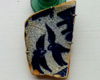 Vintage Willow Pattern Pottery Brooch