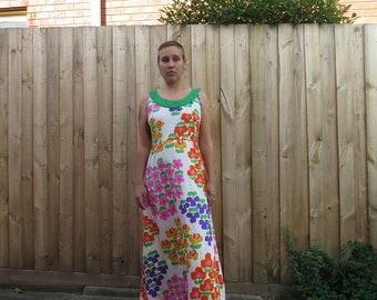 Bright fun 70s graphic floral print floor length white rainbow dress