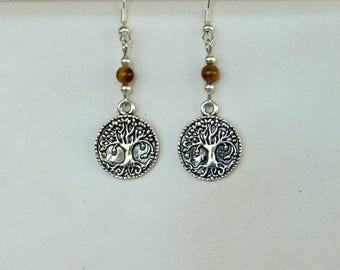 Spirituality Silver Tone Round Tree of Life Earrings with Tiger Eye Gemstone -  Celtic, Wicca,Pagan