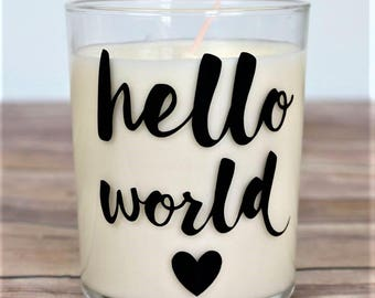 Hello World / Baby Shower / Baby Shower Favours / Baby Shower Decorations / Candles / Personalised Gift / Baby Shower Candle Favours / Quote