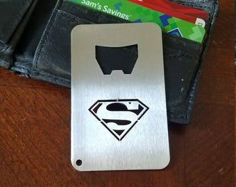 Superman Credit Card Size Bottle Opener - Stainless Steel Bottle Opener - Gift For husband - Bottle Opener - Father's Day Gift - Metal Art