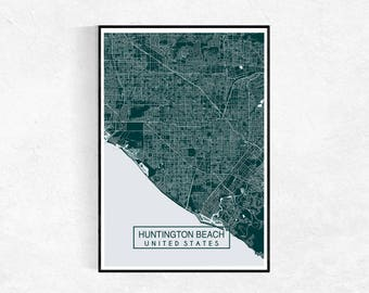 Huntington Beach Map Print, Custom Map Print, Map, Wall Art, Map Wall Art, Huntington Beach, Housewarming Gift, City Map Print