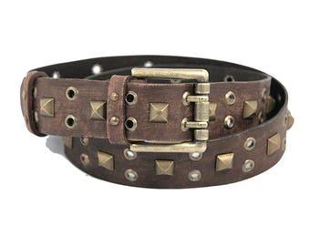 Brown leather belt unisex Vintage style leather Boho belt Mens leather belt Womens Leather belt Plus size belt Aged leather
