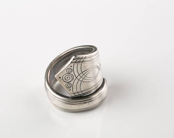 spoon ring, silver plated  jewelery,