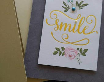 Handmade Smile note card with envelope