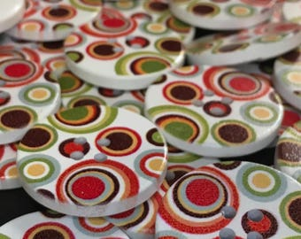 6 Retro Circles Wooden Buttons, 60s, 70s, Fashion