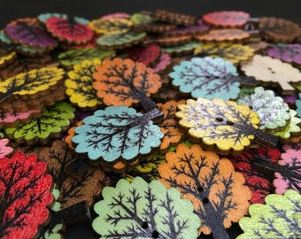 10 Tree Shaped Wooden Buttons, 25 mm, Mixed Natural Shades,Tones,Colours,Woodland,Forest,Nature,Autumn,Spring,Summer,Craft,Sewing,
