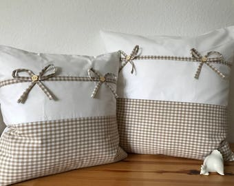 Country style Cushion cover * pillow * beige/white 40x40cm.
