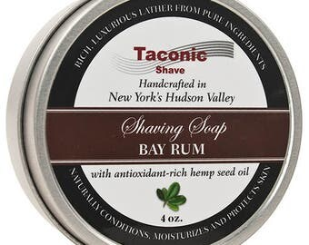 Taconic Shave Bay Rum Shaving Soap with Antioxidant Rich Hemp Seed Oil - Made in USA - Large 4 oz Puck - Barbershop Quality