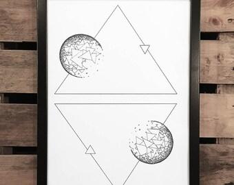 White Space 4, A3 Art Print, Hand Drawn, Original Art