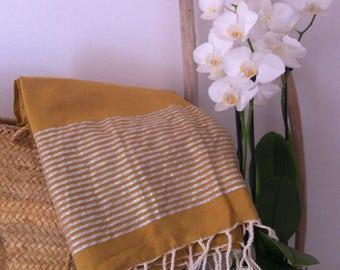 Fouta flat silver lurex stripes
