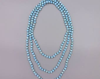 "60"" 6MM matte-finish magnesite necklace."