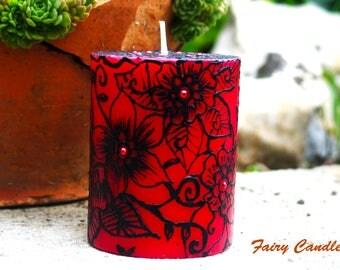 Slovenian Folktale Candle, Unique Painted Candle,  Hand Painted Candles, Folktale Candle
