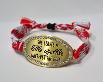 She Leaves a Little Sparkle Wherever She Goes Red, White, and Gold Friendship Bracelet