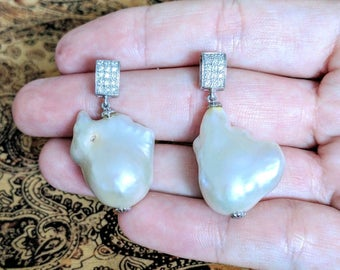 PRICE REDUCTION!!! Baroque Pearl Earrings, 925 Sterling Silver, Glamourous!! Studs, Drops, Lustre, white, Diamond Sparkle, Antique, Vintage
