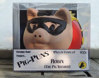 Robin The Pig Wonder ooak custom piggy bank - Pigs in Cosplay - classic (Batman & Robin)