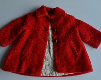 """Vintage red children's coat from """"Daisy of California"""" size 18-24 months"""