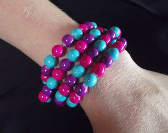 Pink, purple, and blue beaded bracelet