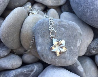 Sterling silver - 925 Sterling Silver necklace - Little flower - Tropical hibiscus necklace sin (flower)