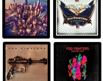 Foo Fighters (4) Coaster Set - Four Different Album Covers recreated on soft absorbent rubber/fabric coasters Gift Idea