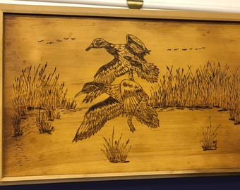 Ducks wood burning