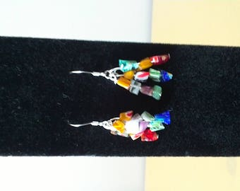 Colorful glass bead dangle earrings