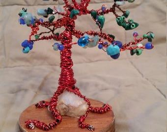 Wire Wrap Gemstone Tree Sculpture