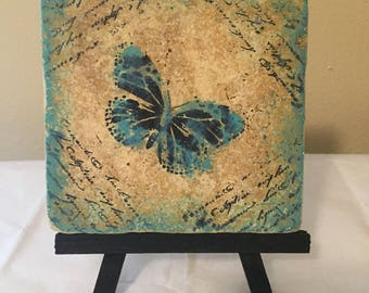 Butterfly Tile  Art in green with Easel