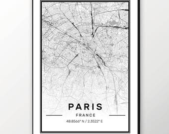 Paris City Map Print, Modern Contemporary poster in sizes 50x70 fit for Ikea frame All city available London, New york Paris Madrid Rome