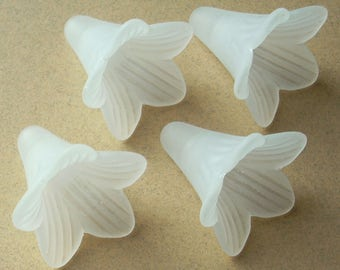 Lucite Flower Beads, Trumpet Flowers, Matte White, 8