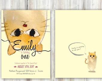 Cat Birthday Invitation - Any age - Watercolor Folk Tale - Printable - Back optional