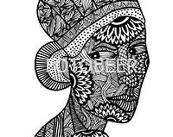 Download coloring woman doodle style