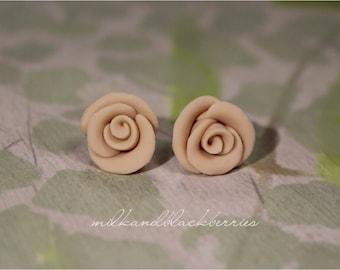 Neutral rose earrings, handmade clay rose studs