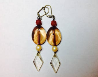 Clear and Brown Earring