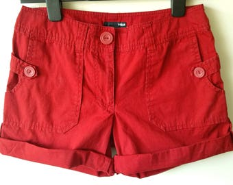 H&M red combat cargo cotton summer shorts UK 10 EUR 36