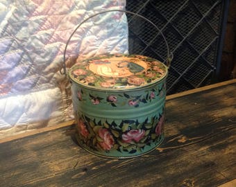Antique hand painted lunch pail