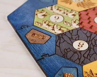 Settlers of Catan Board | Birch | 5-6 Player Expansion, Custom, Wood, Laser Cut