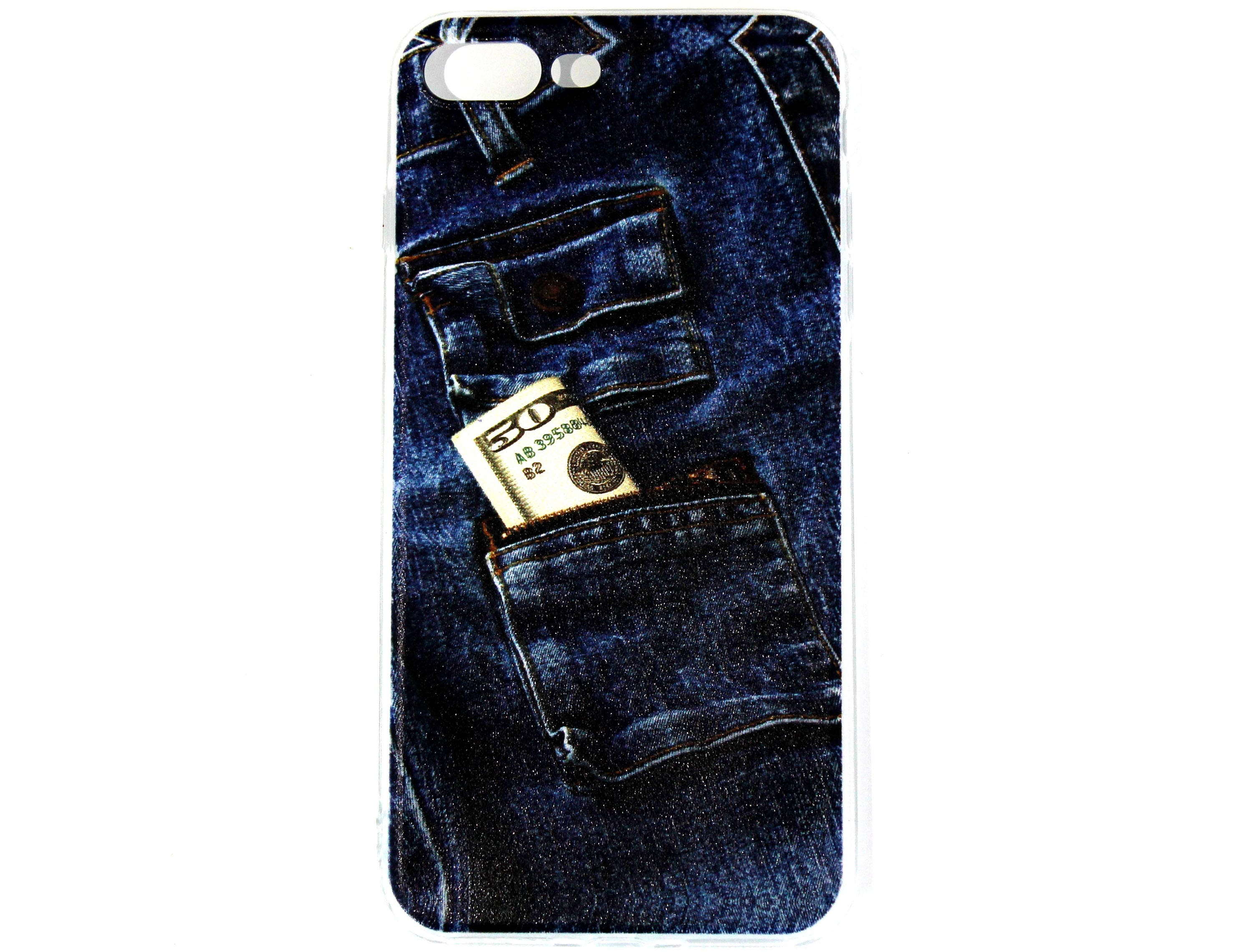 IPhone 7 Plus Soft Silicone Blue Jeans Cash Pattern Case Cell Phone Gift Under