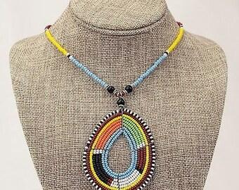 Beaded pendant, Maasai Earrings, Masai earrings, Beaded Earrings, African Earrings, Handmade Earrings, Colorful Earrings, Hoop Earrings