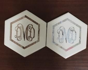Monogram Coasters - Custom Drink Coasters - Housewarming Gift- Graduation Gift- Personalized Coaster Set of 2 - Monogrammed Gifts - Wedding