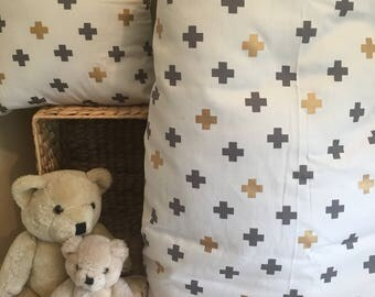 Gold Grey Crosses Baby Cot Comforter and Cushion Cover Set